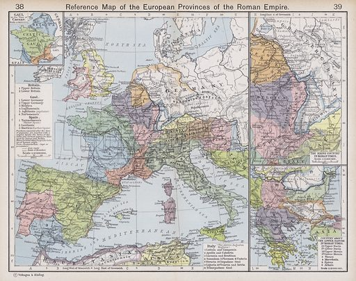 Reference Map of the European Provinces of the Roman Empire. Illustration for Historical Atlas by William R Shepherd (3rd and revised edition, University of London Press, 1924).