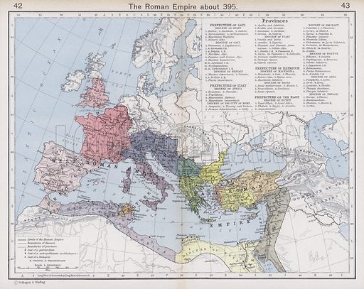 The Roman Empire about 395. Illustration for Historical Atlas by William R Shepherd (3rd and revised edition, University of London Press, 1924).