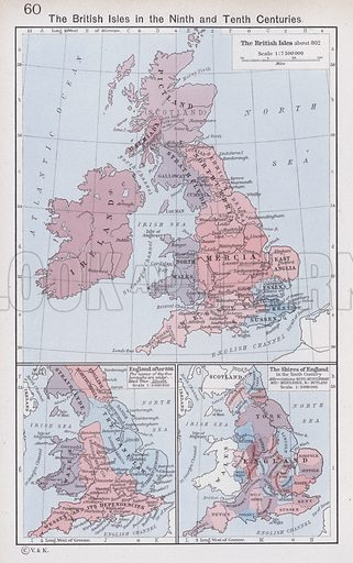 The British Isles in the Ninth and Tenth Centuries. Illustration for Historical Atlas by William R Shepherd (3rd and revised edition, University of London Press, 1924).