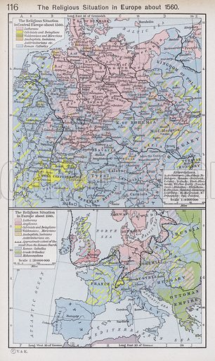 The Religious Situation in Europe about 1560. Illustration for Historical Atlas by William R Shepherd (3rd and revised edition, University of London Press, 1924).
