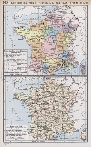 Ecclesiastical Map of France, 1789 and 1802; France in 1791. Illustration for Historical Atlas by William R Shepherd (3rd and revised edition, University of London Press, 1924).