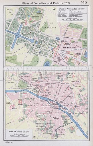 Plans of Versailles and Paris in 1789. Illustration for Historical Atlas by William R Shepherd (3rd and revised edition, University of London Press, 1924).