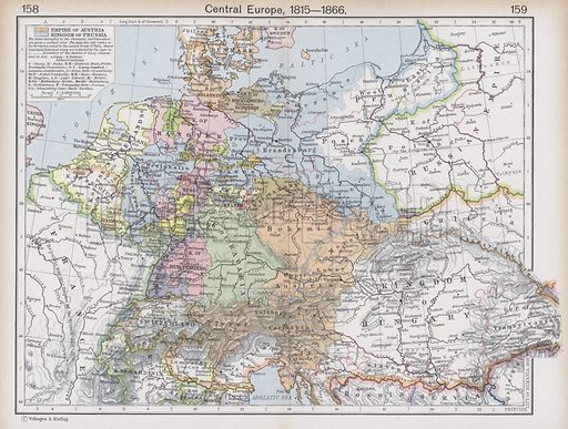 Central Europe, 1815-1866. Illustration for Historical Atlas by William R Shepherd (3rd and revised edition, University of London Press, 1924).