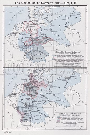 The Unification of Germany, 1815-1871. Illustration for Historical Atlas by William R Shepherd (3rd and revised edition, University of London Press, 1924).