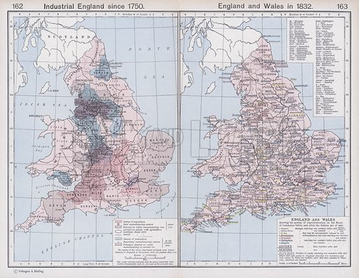 Industrial England since 1750; England and Wales in 1832. Illustration for Historical Atlas by William R Shepherd (3rd and revised edition, University of London Press, 1924).