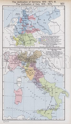 The Unification of Germany, 1815-1871; The Unification of Italy, 1815-1870. Illustration for Historical Atlas by William R Shepherd (3rd and revised edition, University of London Press, 1924).