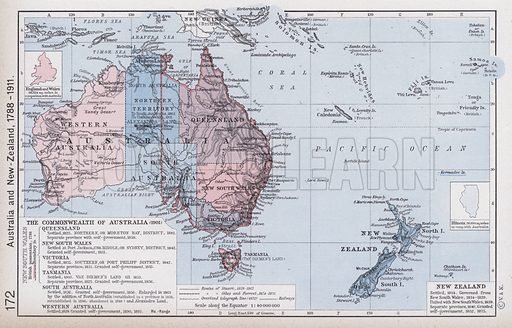 Australia and New-Zealand, 1788-1911. Illustration for Historical Atlas by William R Shepherd (3rd and revised edition, University of London Press, 1924).