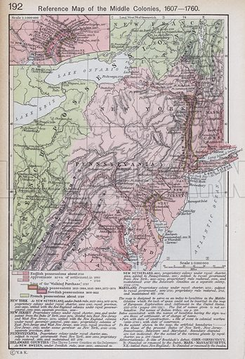 Reference Map of the Middle Colonies, 1607-1760. Illustration for Historical Atlas by William R Shepherd (3rd and revised edition, University of London Press, 1924).