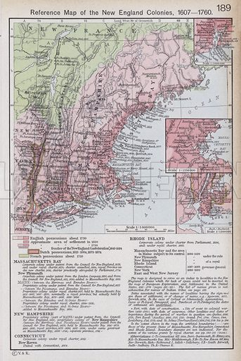 Reference Map of the New England Colonies, 1607-1760. Illustration for Historical Atlas by William R Shepherd (3rd and revised edition, University of London Press, 1924).
