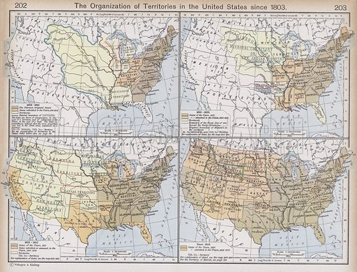The Organization of Territories in the United States since 1803. Illustration for Historical Atlas by William R Shepherd (3rd and revised edition, University of London Press, 1924).