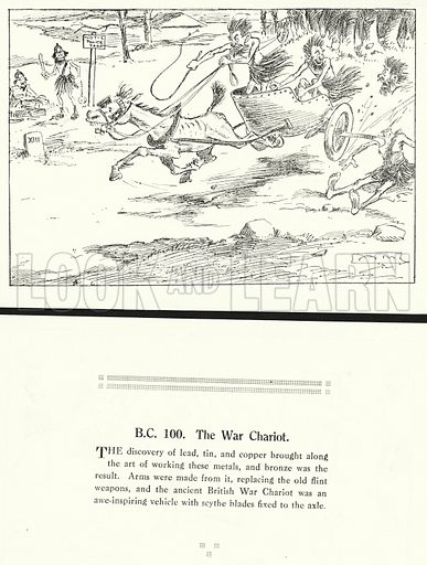 BC 100, The War Chariot. Illustration for Humours of History, 160 Drawings by Arthur Moreland (Revised edition, Daily News, c 1920).