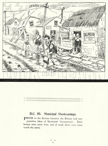 BC 95, Municipal Shortcomings. Illustration for Humours of History, 160 Drawings by Arthur Moreland (Revised edition, Daily News, c 1920).