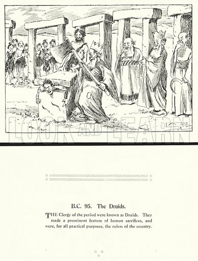 BC 95, The Druids. Illustration for Humours of History, 160 Drawings by Arthur Moreland (Revised edition, Daily News, c 1920).