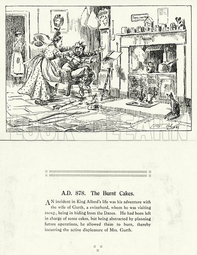 AD 878, The Burnt Cakes. Illustration for Humours of History, 160 Drawings by Arthur Moreland (Revised edition, Daily News, c 1920).