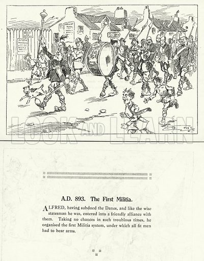 AD 893, The First Militia. Illustration for Humours of History, 160 Drawings by Arthur Moreland (Revised edition, Daily News, c 1920).