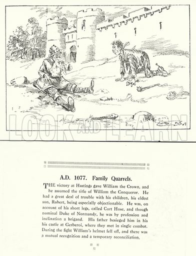 AD 1077, Family Quarrels. Illustration for Humours of History, 160 Drawings by Arthur Moreland (Revised edition, Daily News, c 1920).