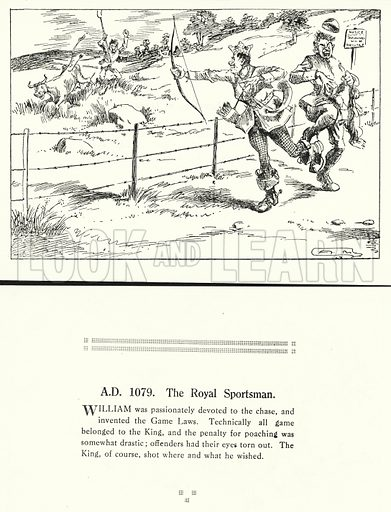AD 1079, The Royal Sportsman. Illustration for Humours of History, 160 Drawings by Arthur Moreland (Revised edition, Daily News, c 1920).