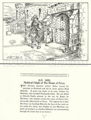AD 1092, Mythical Origin of The House of Percy. Illustration for Humours of History, 160 Drawings by Arthur Moreland (Revised edition, Daily News, c 1920).