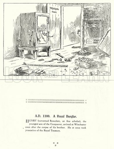 AD 1100, A Royal Burglar. Illustration for Humours of History, 160 Drawings by Arthur Moreland (Revised edition, Daily News, c 1920).