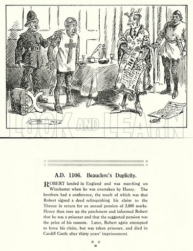 AD 1106, Beauclerc's Duplicity. Illustration for Humours of History, 160 Drawings by Arthur Moreland (Revised edition, Daily News, c 1920).