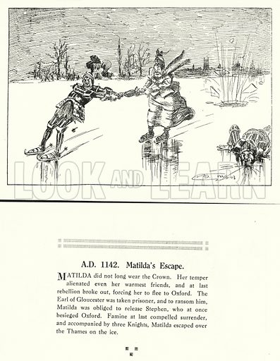 AD 1142, Matilda's Escape. Illustration for Humours of History, 160 Drawings by Arthur Moreland (Revised edition, Daily News, c 1920).