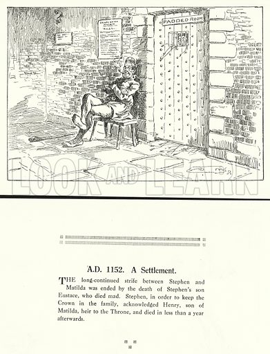 AD 1152, A Settlement. Illustration for Humours of History, 160 Drawings by Arthur Moreland (Revised edition, Daily News, c 1920).