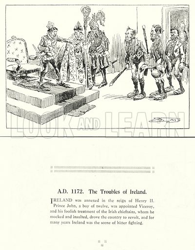 AD 1172, The Troubles of Ireland. Illustration for Humours of History, 160 Drawings by Arthur Moreland (Revised edition, Daily News, c 1920).