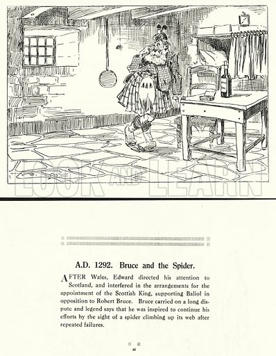 AD 1292, Bruce and the Spider. Illustration for Humours of History, 160 Drawings by Arthur Moreland (Revised edition, Daily News, c 1920).