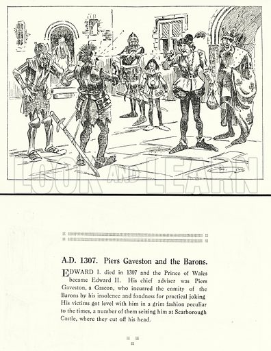 AD 1307, Piers Gaveston and the Barons. Illustration for Humours of History, 160 Drawings by Arthur Moreland (Revised edition, Daily News, c 1920).