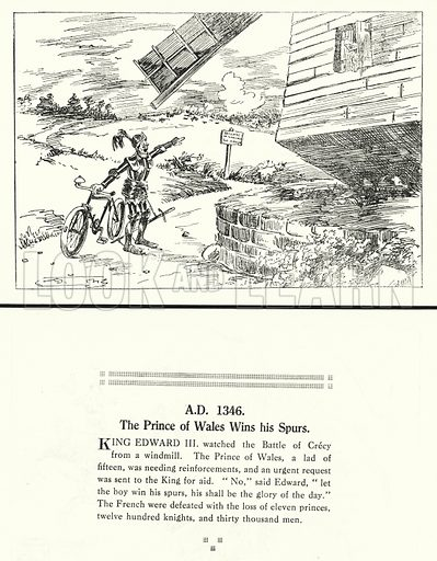 AD 1346, The Prince of Wales Wins his Spurs. Illustration for Humours of History, 160 Drawings by Arthur Moreland (Revised edition, Daily News, c 1920).