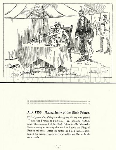 AD 1356, Magnanimity of the Black Prince. Illustration for Humours of History, 160 Drawings by Arthur Moreland (Revised edition, Daily News, c 1920).