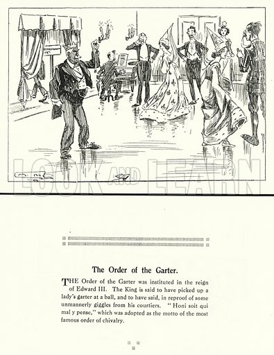 The Order of the Garter. Illustration for Humours of History, 160 Drawings by Arthur Moreland (Revised edition, Daily News, c 1920).