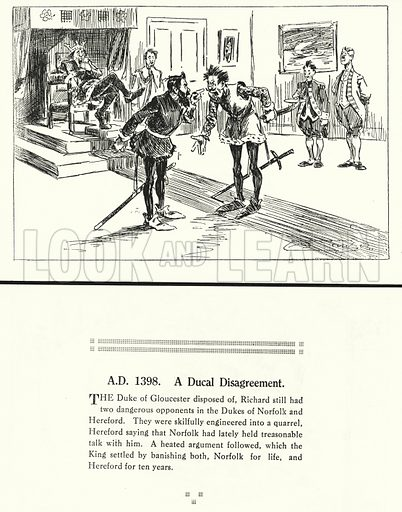 AD 1398, A Ducal Disagreement. Illustration for Humours of History, 160 Drawings by Arthur Moreland (Revised edition, Daily News, c 1920).