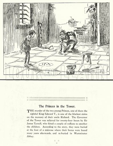 The Princes in the Tower. Illustration for Humours of History, 160 Drawings by Arthur Moreland (Revised edition, Daily News, c 1920).