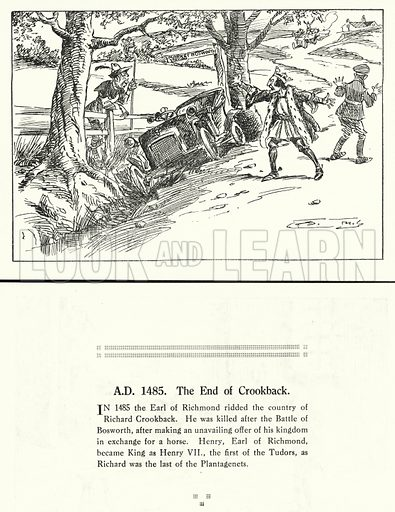 AD 1485, The End of Crookback. Illustration for Humours of History, 160 Drawings by Arthur Moreland (Revised edition, Daily News, c 1920).