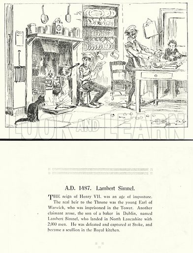 AD 1487, Lambert Simnel. Illustration for Humours of History, 160 Drawings by Arthur Moreland (Revised edition, Daily News, c 1920).