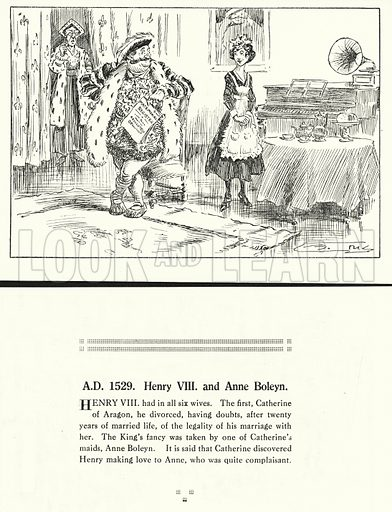 AD 1529, Henry VIII and Anne Boleyn. Illustration for Humours of History, 160 Drawings by Arthur Moreland (Revised edition, Daily News, c 1920).