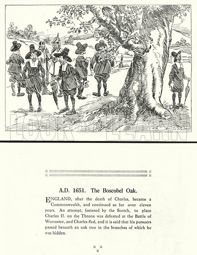 AD 1651, The Boscobel Oak. Illustration for Humours of History, 160 Drawings by Arthur Moreland (Revised edition, Daily News, c 1920).