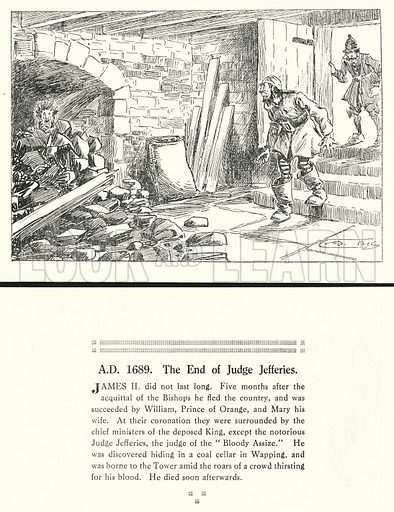 AD 1689, The End of Judge Jefferies. Illustration for Humours of History, 160 Drawings by Arthur Moreland (Revised edition, Daily News, c 1920).