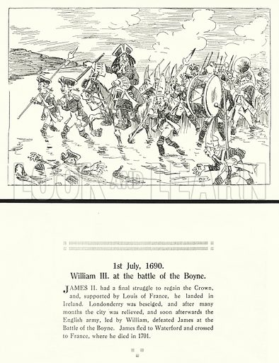 1st July 1690, William III at the battle of the Boyne. Illustration for Humours of History, 160 Drawings by Arthur Moreland (Revised edition, Daily News, c 1920).