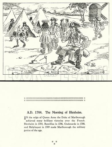 AD 1704, The Morning of Blenheim. Illustration for Humours of History, 160 Drawings by Arthur Moreland (Revised edition, Daily News, c 1920).