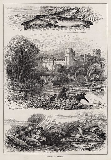 Fishing at Warwick. Illustration for The Illustrated Sporting and Dramatic News, 17 March 1883.