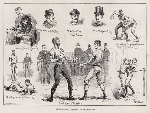 Queensberry Boxing Championships. Illustration for The Illustrated Sporting and Dramatic News, 24 March 1883.