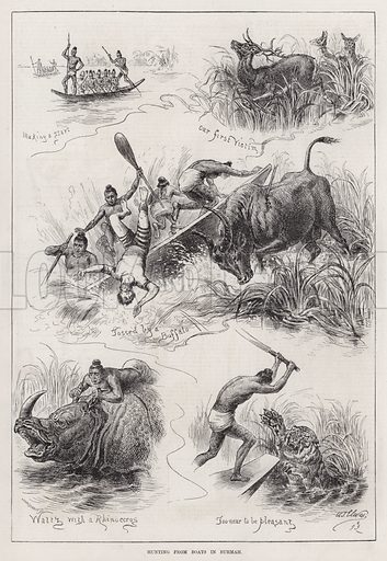 Hunting from Boats in Burmah. Illustration for The Illustrated Sporting and Dramatic News, 31 March 1883.