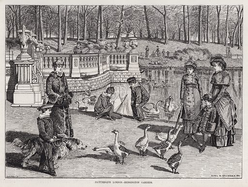 Picturesque London, Kensington Gardens. Illustration for The Illustrated Sporting and Dramatic News, 31 March 1883.