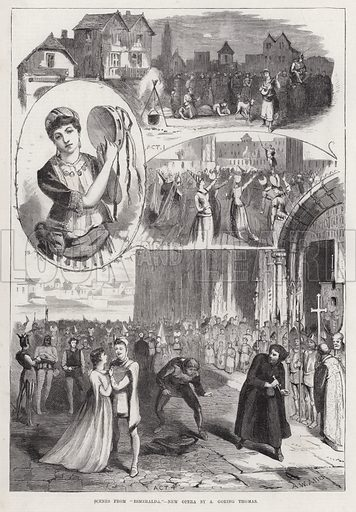 """Scenes from """"Esmeralda,"""" New Opera by A Goring Thomas. Illustration for The Illustrated Sporting and Dramatic News, 7 April 1883."""