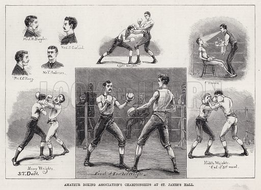 Amateur Boxing Association's Championships at St James's Hall. Illustration for The Illustrated Sporting and Dramatic News, 14 April 1883.