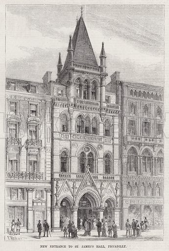 New Entrance to St James's Hall, Piccadilly. Illustration for The Illustrated Sporting and Dramatic News, 21 April 1883.