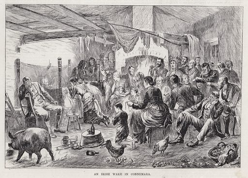 An Irish Wake in Connemara. Illustration for The Illustrated Sporting and Dramatic News, 5 May 1883.