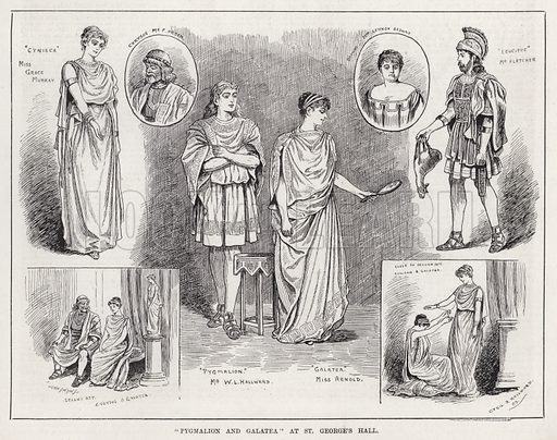 """Pygmalion and Galatea"" at St George's Hall. Illustration for The Illustrated Sporting and Dramatic News, 12 May 1883."